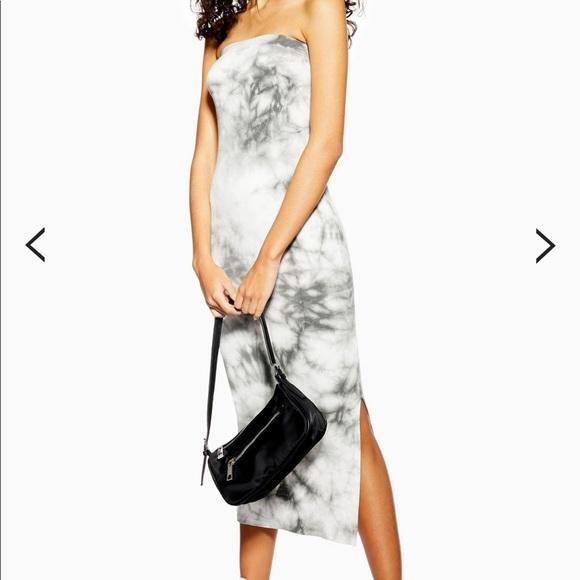 Topshop Dresses & Skirts - Topshop Grey Tie Dye Bandeau Dress